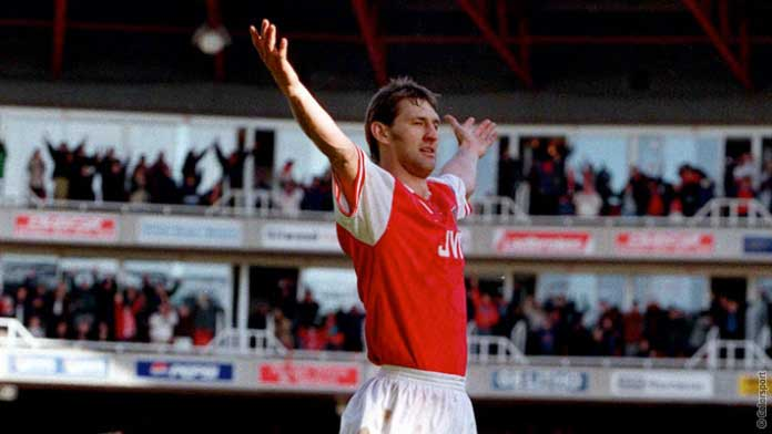 Tony Adams scores against Everton