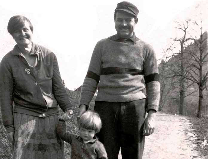 """Ernest, Hadley, and their son Jack (""""Bumby"""") in Schruns, Austria, 1926, just months before they separated"""