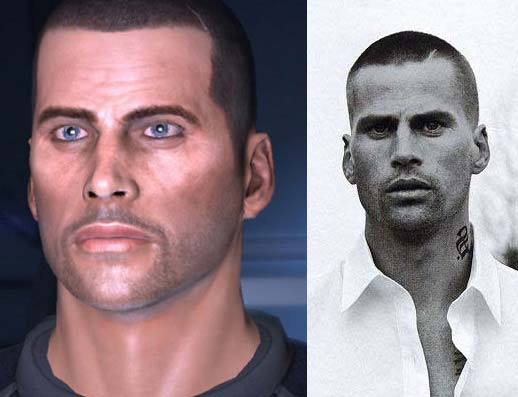 "Left: Commander Shepard (male) from ""Mass Effect"" - Right: Mark Vanderloo"